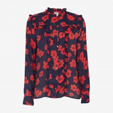 Maryann Poppy Print Shirt in Navy Poppy