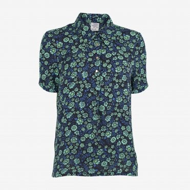 Melba Floral Shirt in Mint Flowerbed