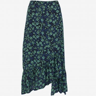 Silva Ruffle Print Skirt in Mint Flowerbed