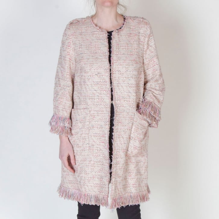 BEATRICE B Boucle Tassel Sleeve Jacket in Pink