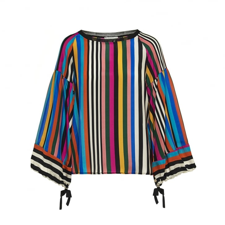 BEATRICE B Ribbon Stripe Bell Sleeve Top in Multi
