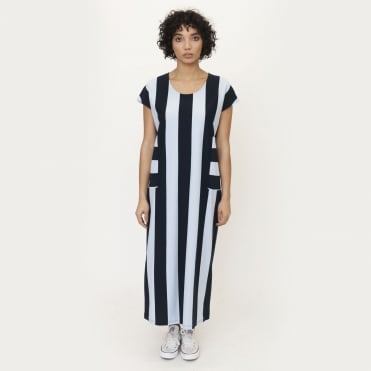 Carol Organic Cotton Maxi Dress in Navy/Blue