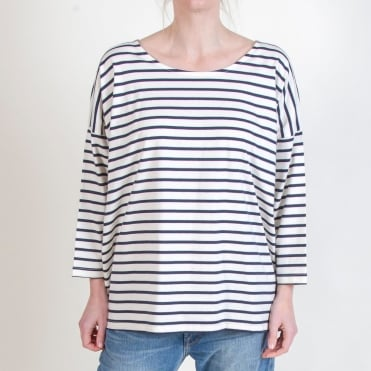 Rosie Organic Cotton Top in Navy/Cream