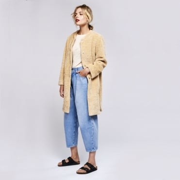 Faux Shearling Coat in Sand