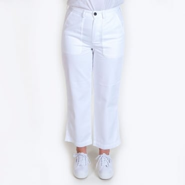 Heavy Cotton Drill Wide Trouser in White