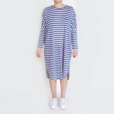Linen Stripe Easy Long Sleeve Dress in Blue