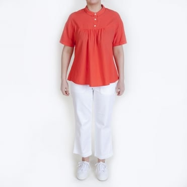 S/S 3 Button Polo Top in Red