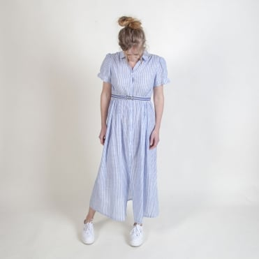 Stripe Cotton Prairie Dress in Blue
