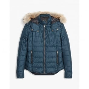 Avedon Short Down Cotton Jacket with Fur
