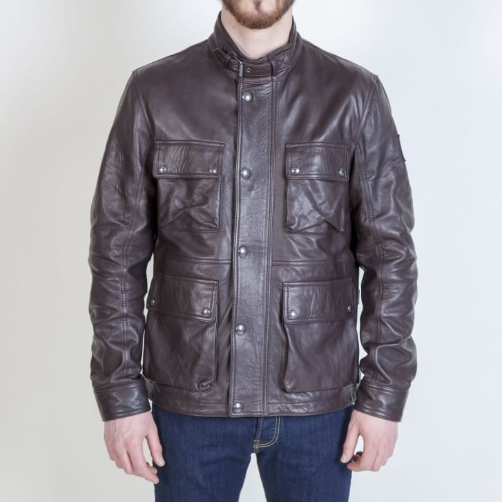 BELSTAFF Brad 3.0 Tumbled Leather 4 Pocket Jacket in Dark Brown