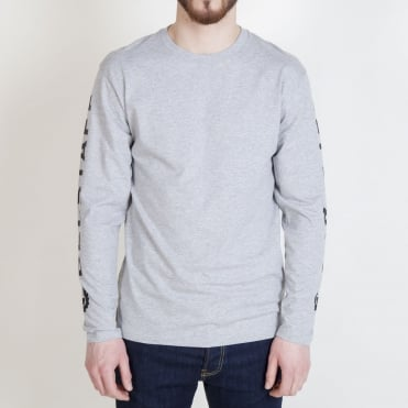 Bratton Long Sleeve Logo Sleeve T Shirt in Grey