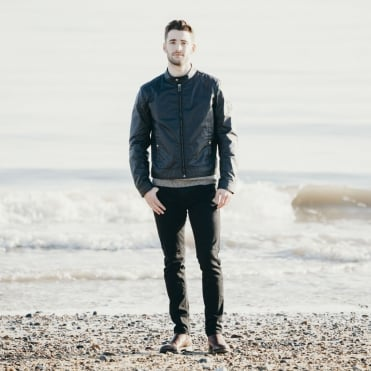 Kelland Cotton Wax Cafe Racer Style Jacket in Dark Navy