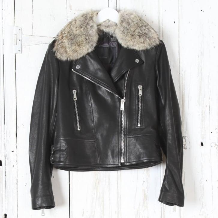 BELSTAFF Marvingt 2.0 Leather Biker Jacket with Fur Collar in Black