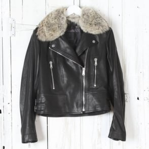 Marvingt 2.0 Leather Biker Jacket with Fur Collar in Black