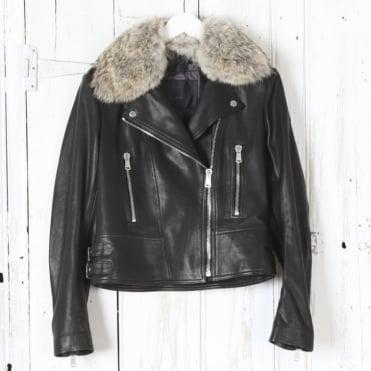 Marvingt 2.0 Leather Biker Jacket with Fur Collar in Black
