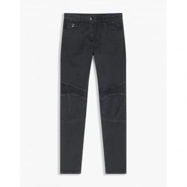Mawgan Washed Mid Rise Skinny Biker Jean in Black