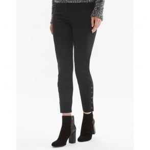 Rossport Cropped Ankle Sateen Trouser in Black