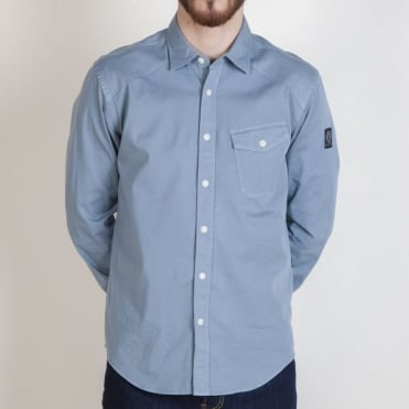 Steadway Simple Cotton Twill Shirt in Light Chambray