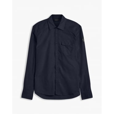 Steadway Simple Cotton Twill Shirt in Navy Blue