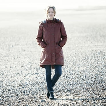 Wembury Wax Cotton Hooded Coat in Carnelion