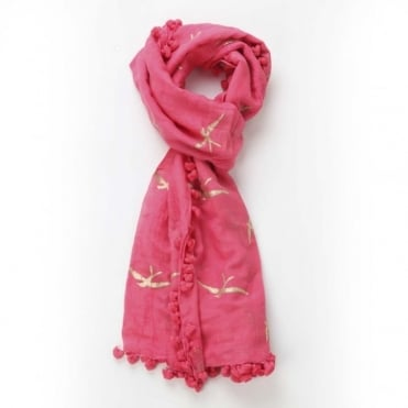 Swallow Dupatta Scarf in Coral Red 0717
