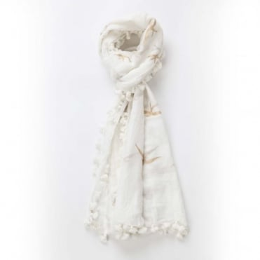 Swallow Dupatta Scarf in White & Gold 0717