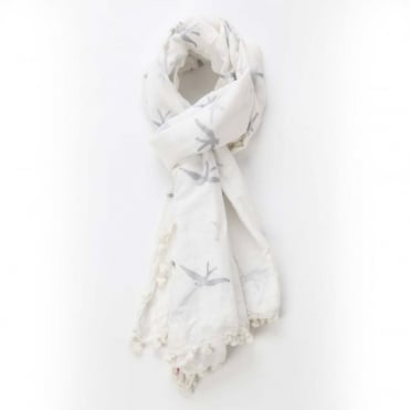 Swallow Dupatta Scarf in White & Silver 0717