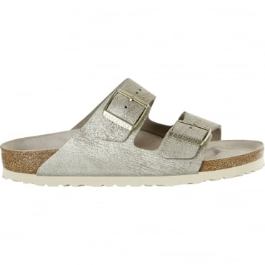 Arizona Washed Metallic Sandal in Cream Gold