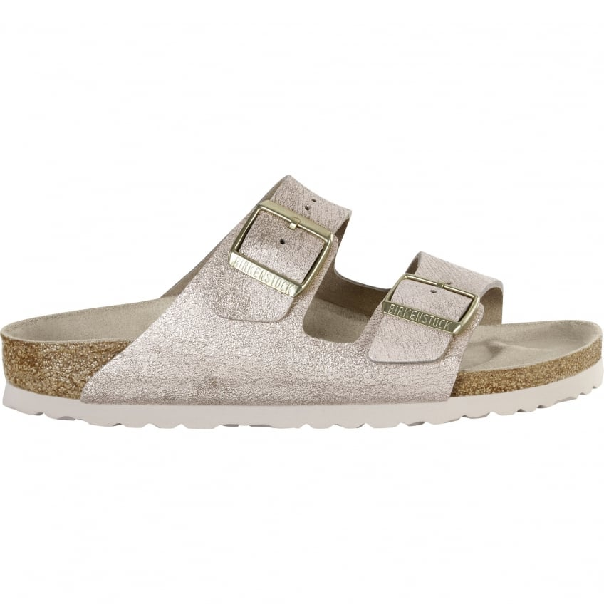 BIRKENSTOCK Arizona Washed Metallic Sandal in Rose Gold