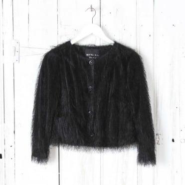 Namahage Ostrich Fringed Short Jacket