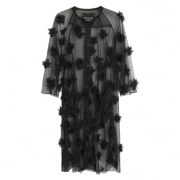 Weightless Flower Sheer Mesh Dress in Black