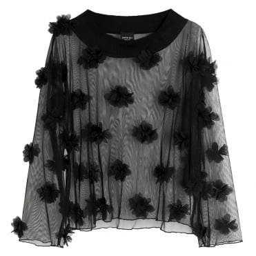 Weightless Flower Sheer Mesh Top in Black