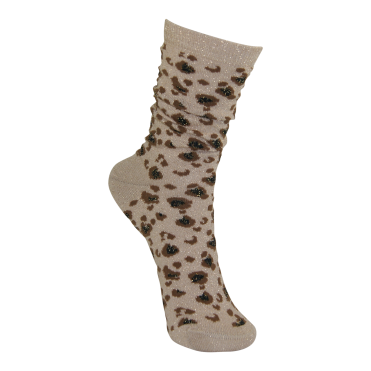Leopard Lurex Socks in Gold