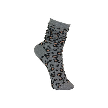 Leopard Lurex Socks in Grey