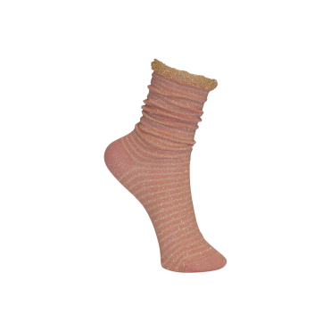 Lurex Stripe Sock in Rose Gold