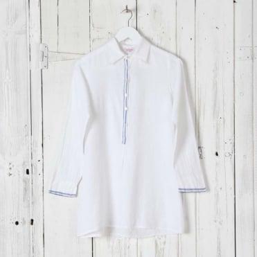 Bolam Collar Long White Shirt