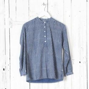 Collarless Button Front Shirt