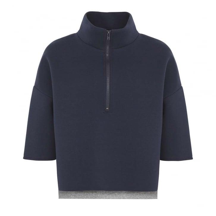 HOPE FASHION Bonded Zip Neck Sweater