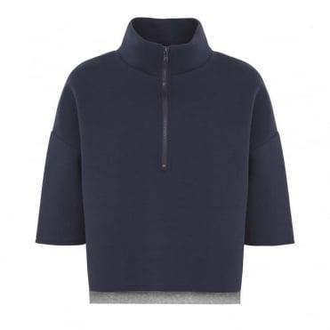 Bonded Zip Neck Sweater