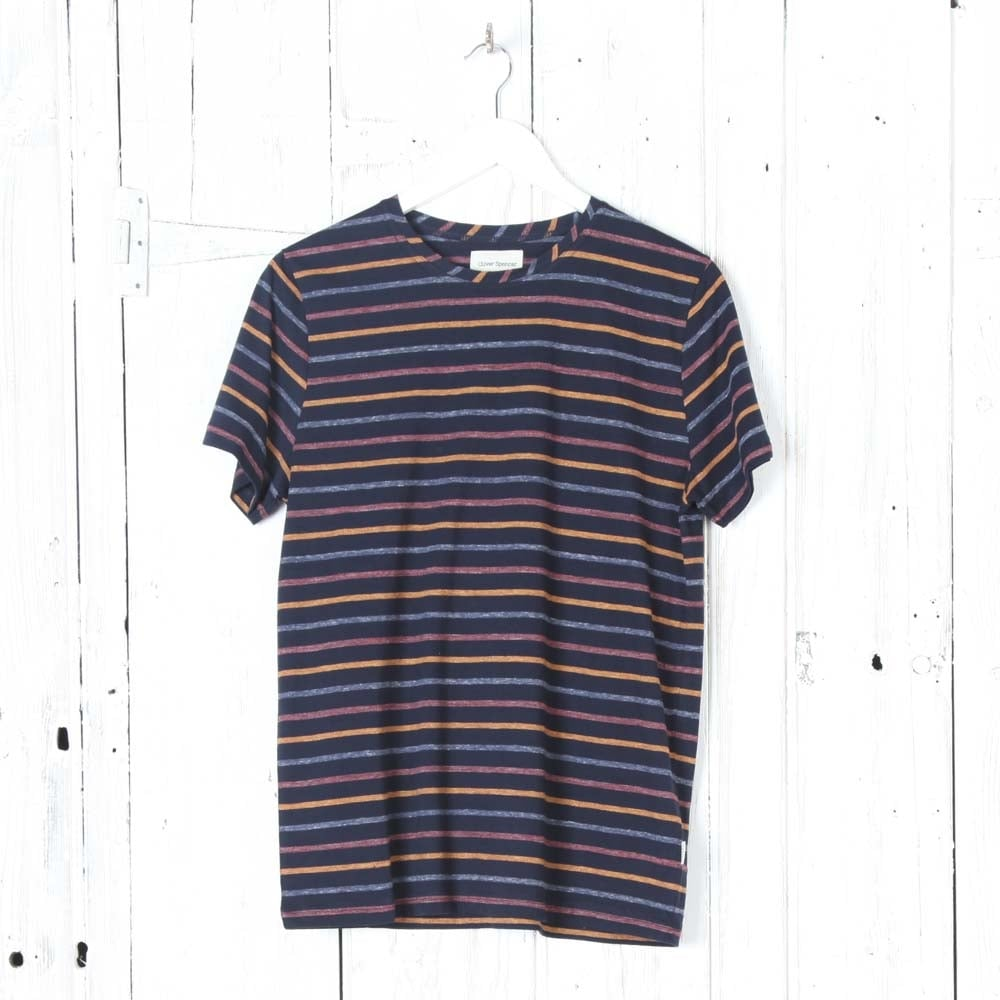 oliver spencer breton tee shirt in navy oatmeal collen. Black Bedroom Furniture Sets. Home Design Ideas
