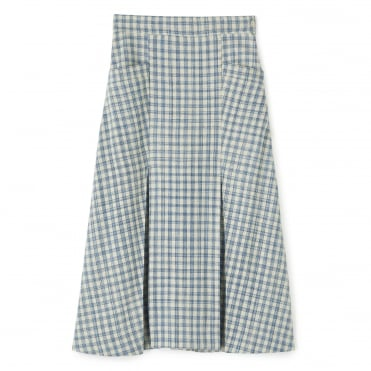 Silk Blue Check Skirt
