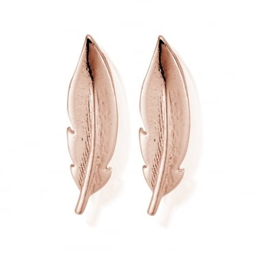 Cuff Feather Earrings in Rose Gold