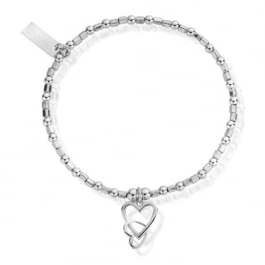 Interlocking Love Heart Bracelet in Silver