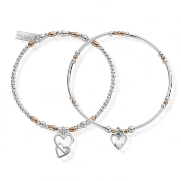 Rose and Silver Double Devotion Set of 2 Bracelets