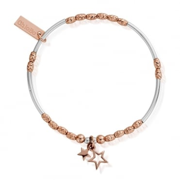Rose and Silver Double Star Bracelet