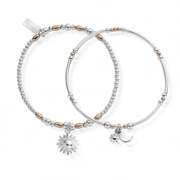 Rose and Silver Dusk To Dawn Set of 2 Bracelets