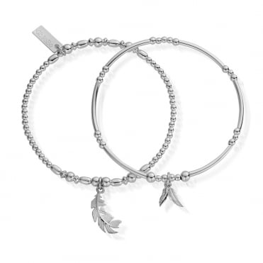 Strength and Courage Set of 2 Bracelets in Silver