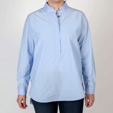 Claudie Finestripe Pull On Shirt in Sky Blue