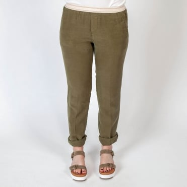 Fox Cotton Linen Mix Pull On Trouser in Khaki