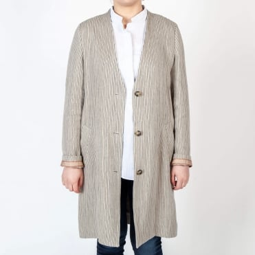 Mali Linen Stripe Collarless Duster Coat in Beige
